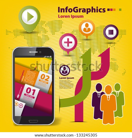 Abstract set infographic on teamwork in business with smartphone - stock vector