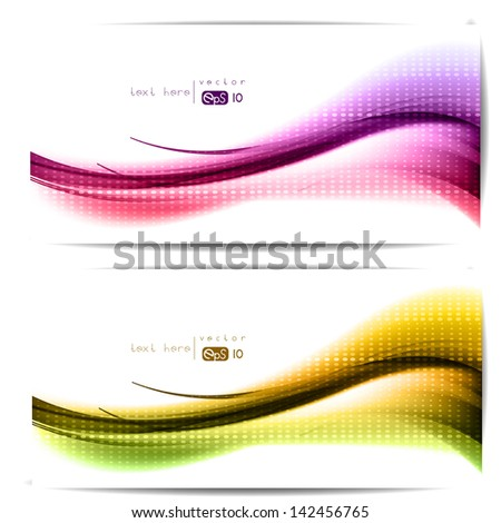 Abstract set of backgrounds with colored lines and waves - stock vector
