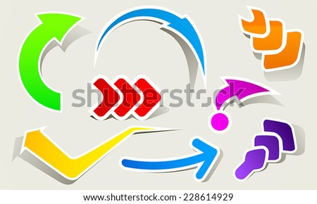 Abstract set of colored arrows - stock vector