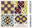 Abstract set of colorful seamless geometrical patterns - vintage. Decorative vector backgrounds. - stock vector