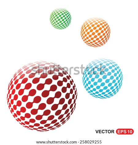 Abstract set of dots globe shape background for your text and logo | Globe logo design | world creative shape logo | Technology logo | corporate business logo design - vector illustration - stock vector