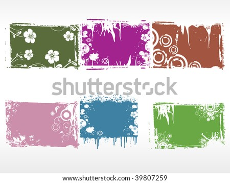 abstract set of grungy floral frames - stock vector