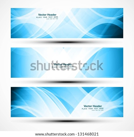 Abstract set of header blue wave design layout - stock vector