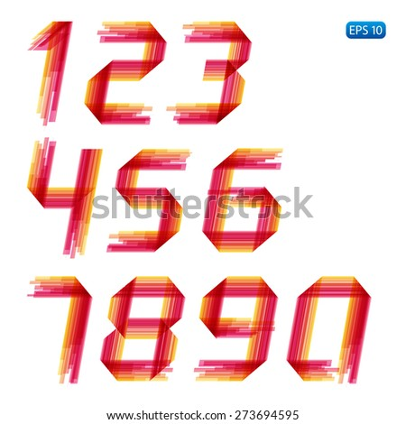 Abstract set of numbers. Orange and red. Vector.