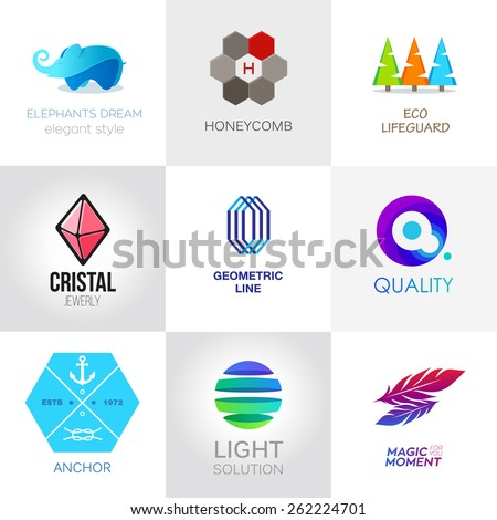 Abstract set of web logotype. Vector icon - stock vector