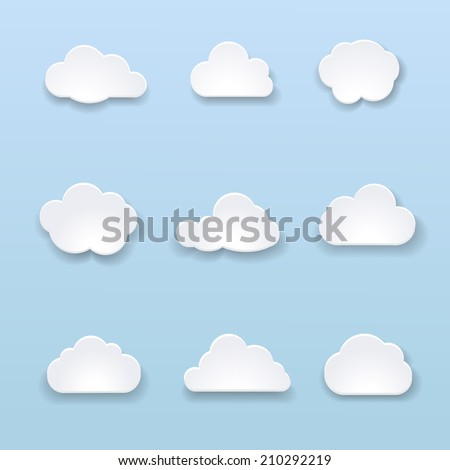Abstract shape of clouds on blue background. Vector illustration