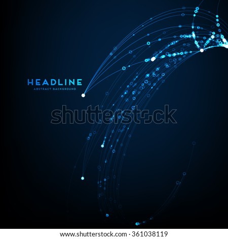 Abstract Shape of Particles Array. Technology Digital Concept for Business Design, Covers and Presentation Backgrounds. - stock vector
