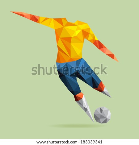 Abstract shape soccer player, polygonal, illustration vector design. - stock vector