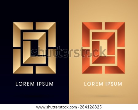 Abstract shape, Square ,Box , graphic vector - stock vector