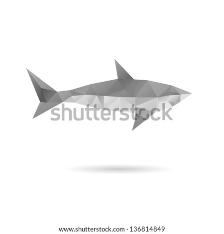Abstract shark isolated on a white backgrounds - stock vector