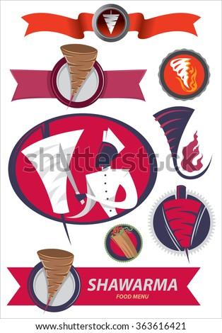 Abstract Shawarma Art Collection, Gyros, Kebab (Vector Art) - stock vector