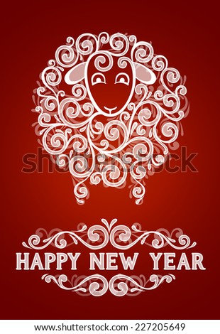 Abstract sheep 2015 new year symbol, on red background, EPS 10 contains transparency - stock vector