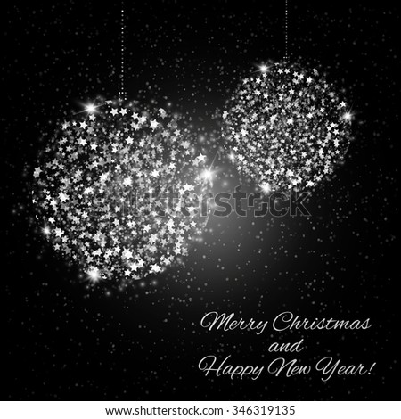 Abstract Shining Christmas balls on black background. Vector illustration - stock vector