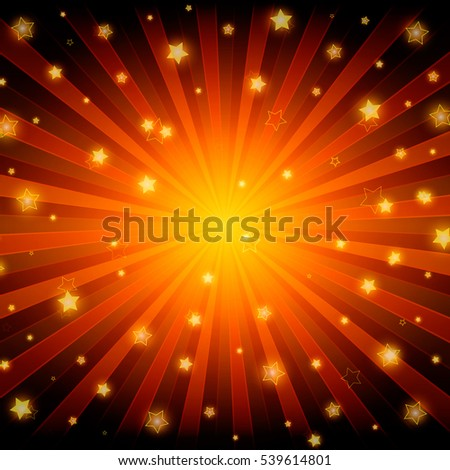 Abstract shining stars red background. Vector illustration