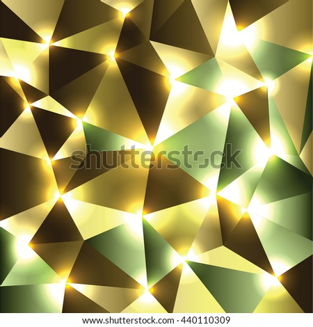 Abstract Shiny Background. Golden Sparkly Geometric Illustration. - stock vector