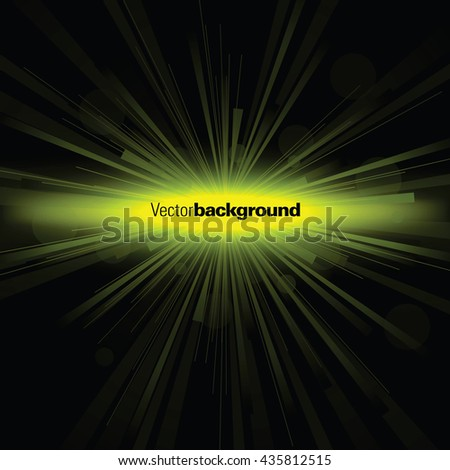 Abstract Shiny Background. Green Sparkly Explosion. - stock vector