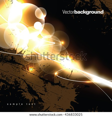 Abstract Shiny Background. Orange and Black Illustration. - stock vector
