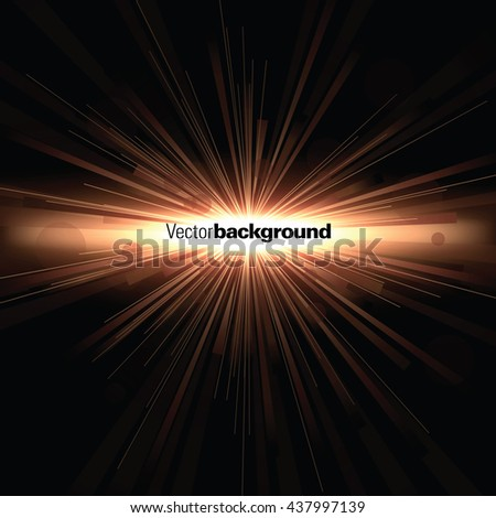 Abstract Shiny Background. Orange Sparkly Explosion. - stock vector