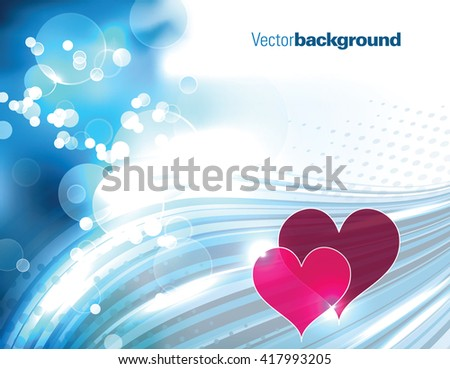 Abstract Shiny Background with Hearts. - stock vector