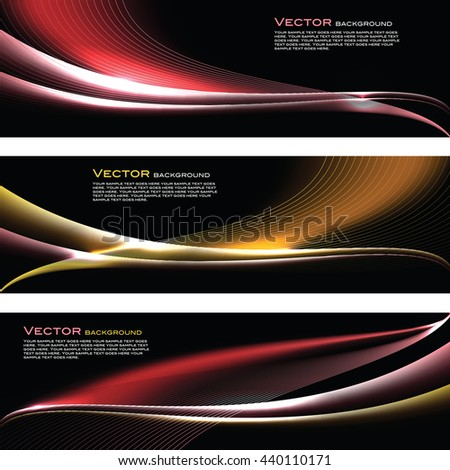 Abstract Shiny Banners. Red and Orange Sparkly Backgrounds. - stock vector