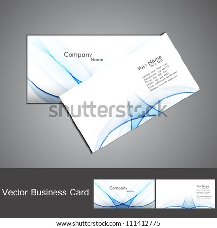 abstract shiny blue colorful wave business card set background illustration - stock vector