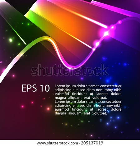 Abstract shiny 3d bright background. Rainbow colors shining neon lights. Vector. EPS 10.