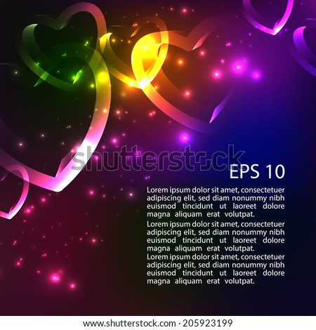 Abstract shiny 3d bright background with hearts. Rainbow colors shining neon lights. Vector. EPS 10.