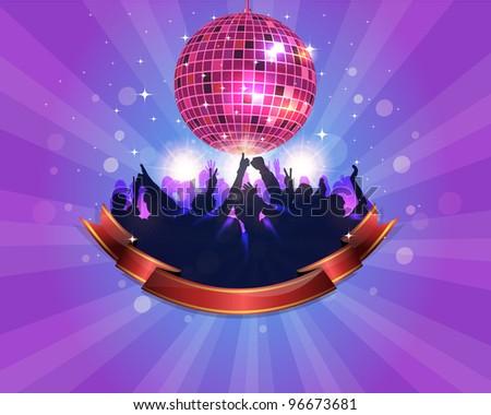 Abstract Shiny Disco Ball Party Background Vector Design - stock vector