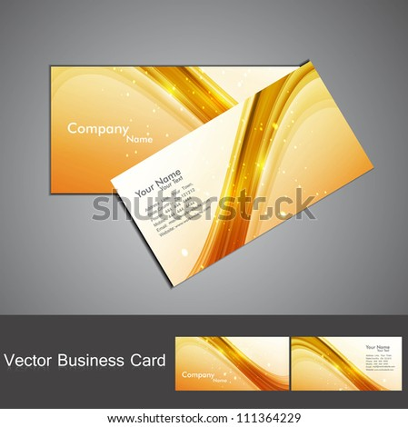 abstract shiny golden colorful stylish wave business card set - stock vector