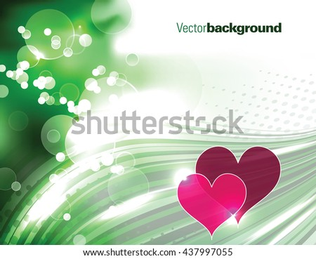 Abstract Shiny Green Background with Hearts. - stock vector