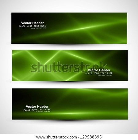 Abstract shiny green colorful header rays wave whit vector - stock vector