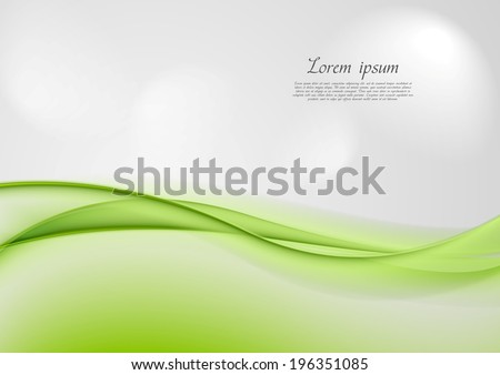 Abstract shiny green waves vector background - stock vector