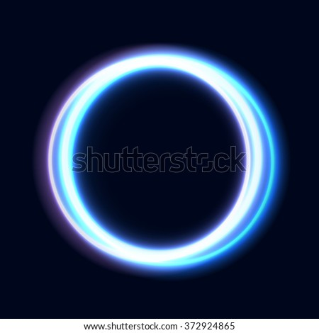 Abstract Shiny Light Circles. Bright rings on dark background. Vector illustration for your design web banner