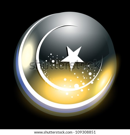 Abstract shiny moon an Islamic greeting card for Id Mubarak vector Illustration. - stock vector