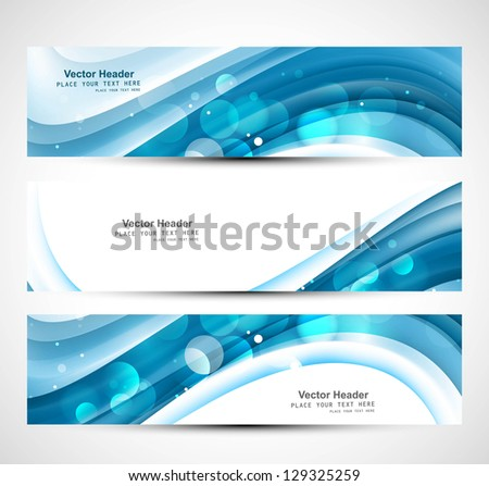 Abstract shiny three blue wave header whit vector - stock vector