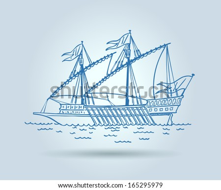 Abstract ship, stylization, vector