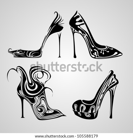 abstract shoes set - stock vector