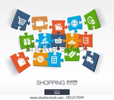Abstract shopping background with connected color puzzles, integrated flat icons. 3d infographic concept with shop, money, marketing and cart pieces in perspective. Vector interactive illustration.