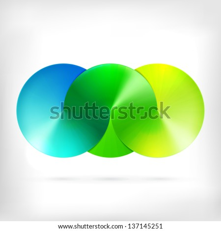 Abstract sign of three merged circles logo. Infinity sign. Spectrum icon. - stock vector