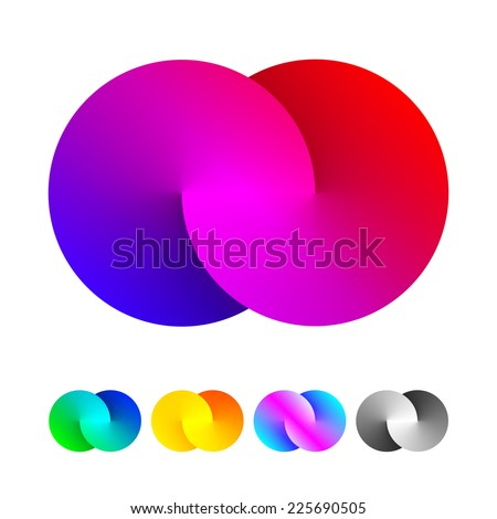 Abstract sign of two merged circles. Infinity logo sign. Spectrum icon. - stock vector