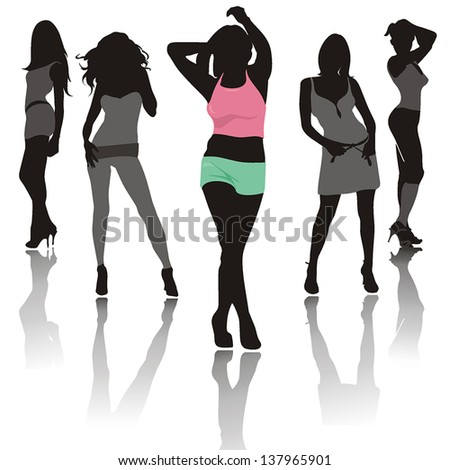 Abstract silhouette fashion girls, composition of dancing Women - stock vector