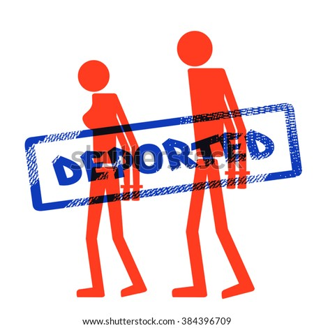 """Abstract silhouette icon of handcuffed man and woman. Symbol deportation, deprivation of freedom of movement, exile. The print, stamp """"deported"""" - stock vector"""