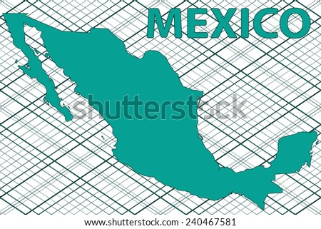Abstract silhouette map of the Mexico. All objects are independent and fully editable.   - stock vector