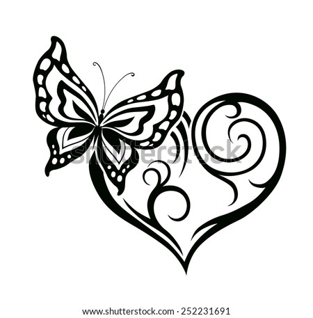 Abstract silhouette of decorative butterfly. It is designed to decorate. Maybe for tattoo - stock vector