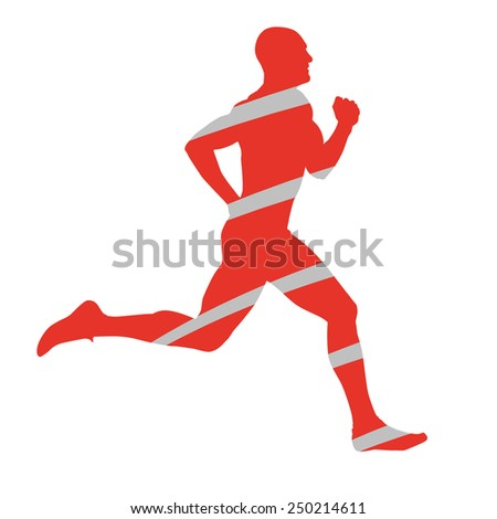 Abstract silhouette of running man - stock vector