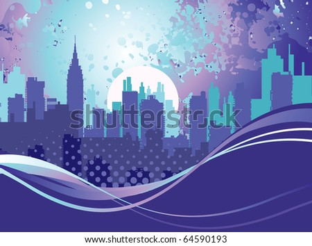 Abstract silhouette of the city at night - stock vector