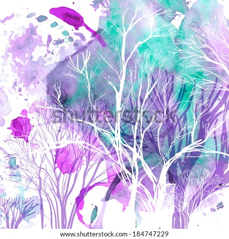 Abstract silhouette of trees on watercolor background - stock vector