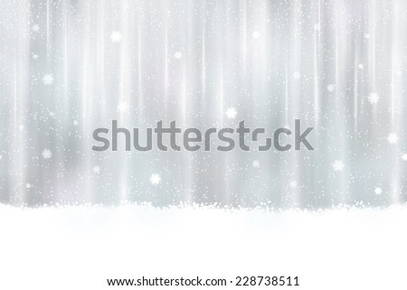 Abstract silver background design. Snowfall and light effects give it a dreamy, soft feeling and a glow perfect for the festive Christmas season. Seamless horizontally - stock vector