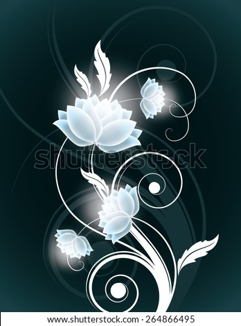 Abstract Silver Background with Shiny Flowers. Vector. - stock vector