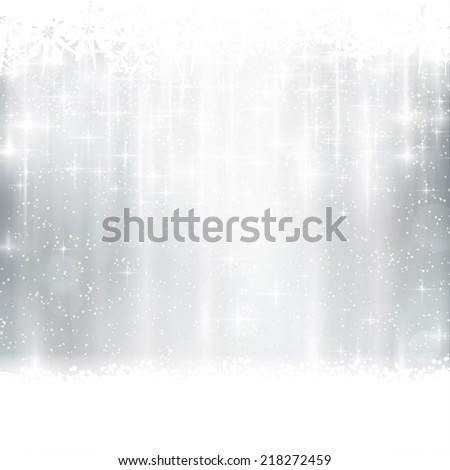 Abstract silver, white festive background with out of focus light dots, stars and  snowflakes. Great for the festive season of Christmas or any winter design to come. - stock vector